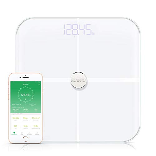 RENPHO Smart Heart Rate Body Fat Scale Bluetooth Digital Bathroom Scales Wireless Weight Scale BMI Scale, 15 Essential Body Composition Analyzer with Smartphone App, 396 lbs - White