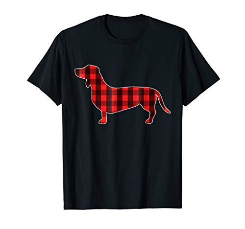 Christmas Weiner Dog T-Shirt I Plaid Lumberjack Pattern