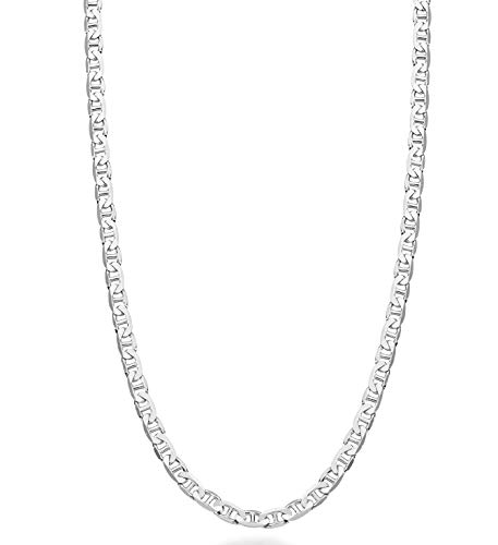 MiaBella Solid 925 Sterling Silver Italian 3mm Diamond-Cut Solid Flat Mariner Link Chain Necklace for Women Men, 16-30 Inch Made in Italy (20) ()