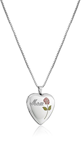 Sterling Silver Mom Heart Locket (Sterling Silver Engraved Mom and Rose Heart Locket Necklace, 18