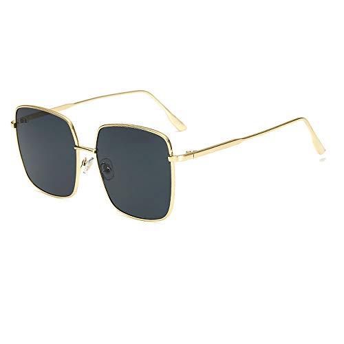 Vocono Retro Oversized Sunglasses for Women Square Metal Frame Non-Prescription Lens (Black) ()