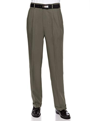 RGM Men's Pleated Dress Pants Work to Weekend - Comfortable and Lightweight Olive 42 Medium