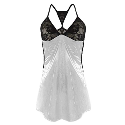 TOTOD Lingerie Women's Sexy Front Closure Babydoll Lace Chemise V Neck Mesh Pajamas Sleepwear ()