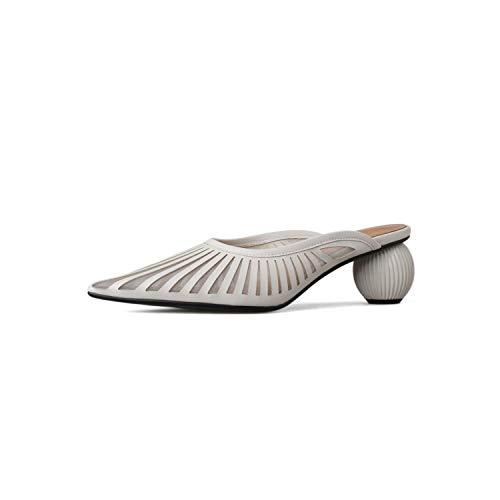 Lu Studio Pointed Toe Summer Shoes Strange Heel Women Shoes High Heel Air Mesh Comfortable Elegant Shoes Woman,Beige,8