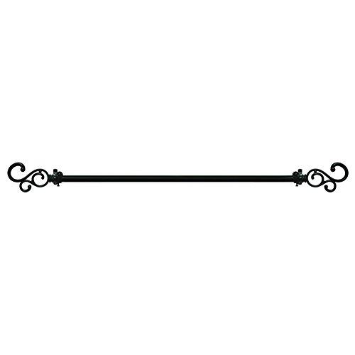 Scroll Decorative Rod Set - Medley Classic Scroll Curtain Rod Set, Black, 28