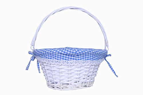 KRZIL Easter Basket Gift Basket Oval Willow Round Wicker Storage Basket with One Drop Down Handle Fabric Cotton Linen for Office, Bedroom, Closet, Toys