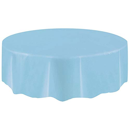Complete Solid Pvc Vinyl - Staron  Round Tablecloths - Large Circular Plastic Table Cover Cloth Wipe Clean Party Tablecloth Covers, Solid Color (Sky Blue)
