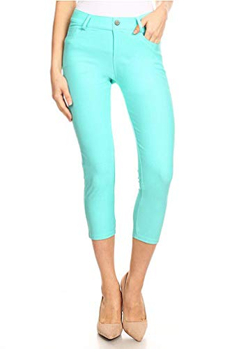 (BENNY & LOUIE Women's Cotton Blend Stretchy Skinny Jeggings Pants 817 Mint L )
