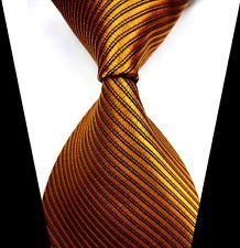 (jacob alex #38797 Classic Necktie Orange&Gold Striped Ties WOVEN JACQUARD Silk Men's Suits)