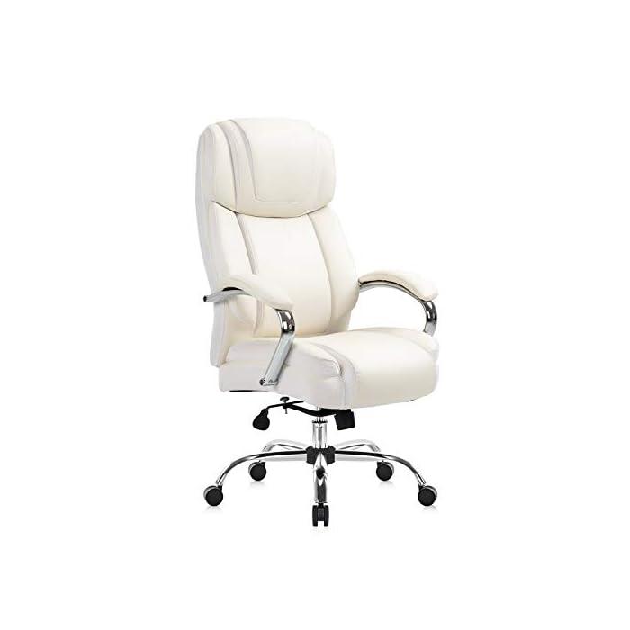 31g%2BnU5vZBL Haz clic aquí para comprobar si este producto es compatible con tu modelo Silla de oficina de piel regenerada: la silla ejecutiva grande y alta de Yamasoro fue diseñada para tu comodidad. La silla tiene acolchado suave y grueso y borde del asiento en cascada para menos presión en la parte posterior de tus piernas para que puedas mantenerte cómodo incluso cuando tengas que sentarte durante horas. Comodidad para tu productividad: diseño ergonómico de silla de oficina con cojines de doble capa para sillas. Asiento de resorte de bolsillo de alta elasticidad. Cojín de silla de escritorio 30 ~ 50% más grueso que el asiento normal. Una silla de oficina y respaldo con reposacabezas contorneado grueso. Comodidad continua para largas horas de juego o trabajo. Mayor densidad, mejor elasticidad, mayor resistencia. Combinación perfecta para tu mesa de juego y escritorios de ordenador.