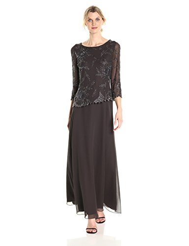 J Kara Women's Long Scoop Neck Asymetrical Beaded Dress, Slate/Mercury/Gun, 16