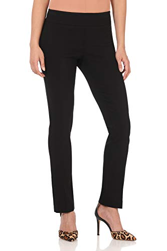 (Rekucci Women's Ease in to Comfort Straight Leg Pant with Tummy Control (12,Black Stripes))