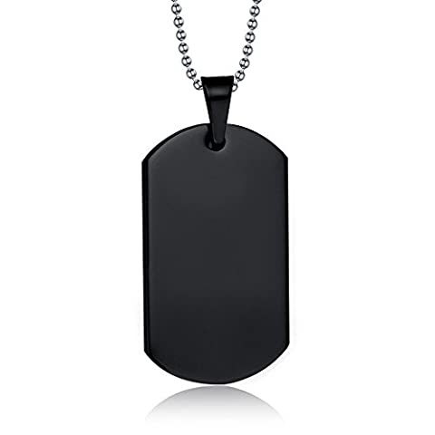 Free Engraving-Personalized Custom Message Stainless Steel Dog Tag Necklace Pendant,Black - Stainless Dog Tag Fashion Necklace