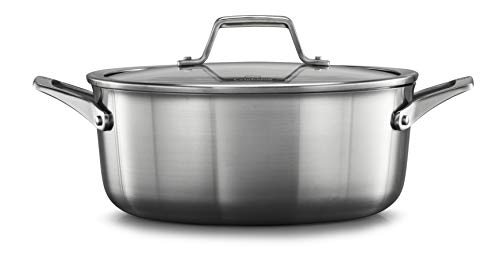 Calphalon 2029622 Premier Stainless Steel 5-Quart Dutch Oven with Cover, Silver (Oven Qt 5 Steel Dutch Stainless)