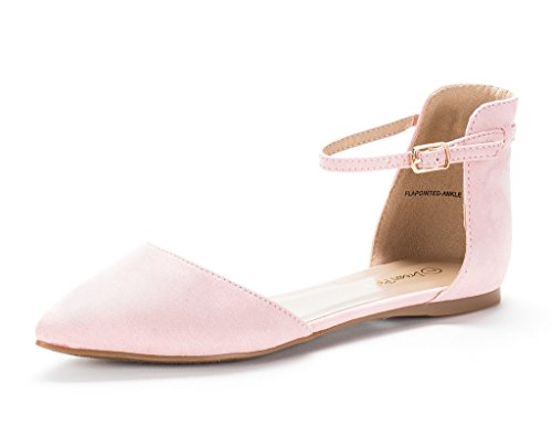 DREAM PAIRS Flapointed-Ankle Women's Casual D'Orsay Pointed Plain Ballet Comfort Soft Slip On Flats Shoes New Pink Size 8