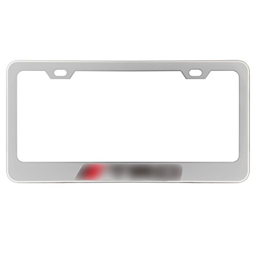 Deselen - LP-BS09P - Stainless Steel License Plate Frame for TRD with Screw Caps Cover Set, Silvery White/Chrome (2 Pieces)