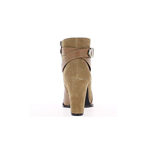 Bottines femme taupe talon de 10cm aspect daim et cuir