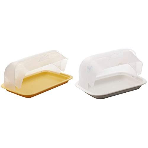 Signoraware Big Bread Box, Lemon Yellow & Signoraware Small Plastic Butter Box, White