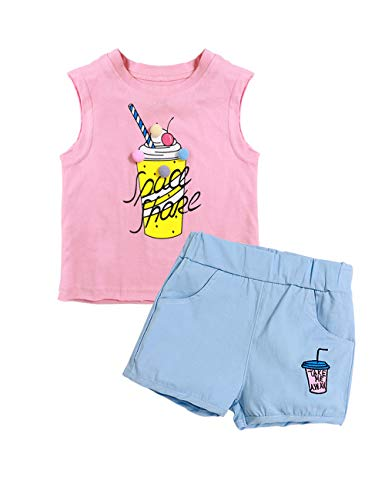 itkidboy Summer Girls Outfits Little Girls Clothes Cute Print T-Shirt Vest + Cute Letter Printed Pants 2pcs Short Set(18-24 M)