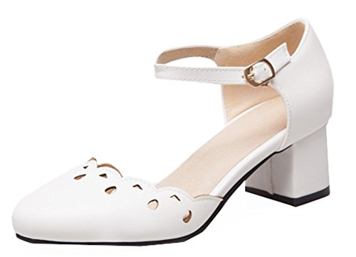 SHOWHOW Women's Cute Perforated Round Toe Ankle Strap Party Pumps White 6.5 B(M) US