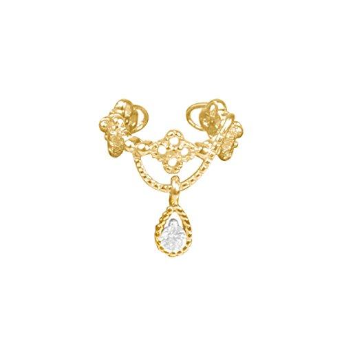 Valentine's Day Gift Single Wrap Ear Cuff Ear Clip Non Piercing Gem Dangle Earring Golden