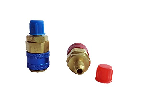 GooMeng4S Set of 2 A/C R134A Adapter Connector Low High Conversion Kit Automotive air Conditioning Fluoride Connector 1/2'' Acme Female x 1/4'' SAE Male (Direct Coupler) by GooMeng (Image #1)