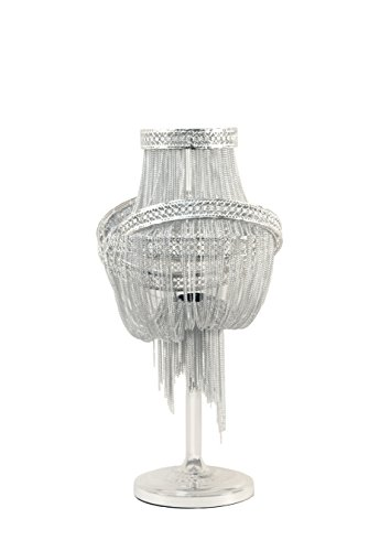 (Benzara BM191479 Steel Table Lamp with Chain Accent, Silver)