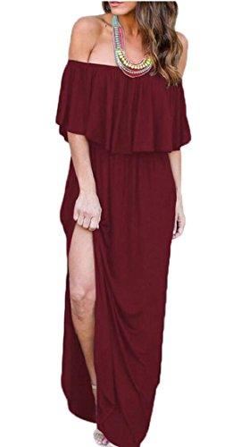 Jaycargogo Womens Sur Le Côté Robe Volants Épaule Poches Fendu Robes Maxi Vin Rouge