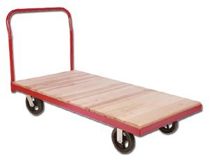 Akro Mils - Non Plastic, Steel Bound Wood Deck Platform Truck With 5 In Polyolefin Casters 1800 Pound Cap, S-Pt3672-A, Size W X D: 36 X 72