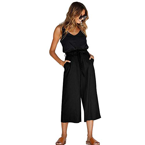 (HARONAR Wide Leg Pants for Women High Waist Palazzo Loose Pants Casual with Belt Black)