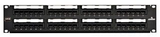 Leviton 69586-U48 Black Painted 14 Gauge Steel Flat Category 6 Universal Patch Panel 2U 48-Port by Leviton