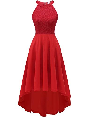 YOYAKER Women's Halter Lace Cocktail Party Swing Dress High Low Bridesmaid Prom Dresses Red 3XL
