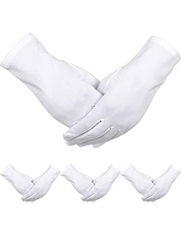 Sumind 4 Pairs Adult Uniform Gloves Spandex Gloves Dress Glove for Police Formal Tuxedo Guard Parade Costume (White -