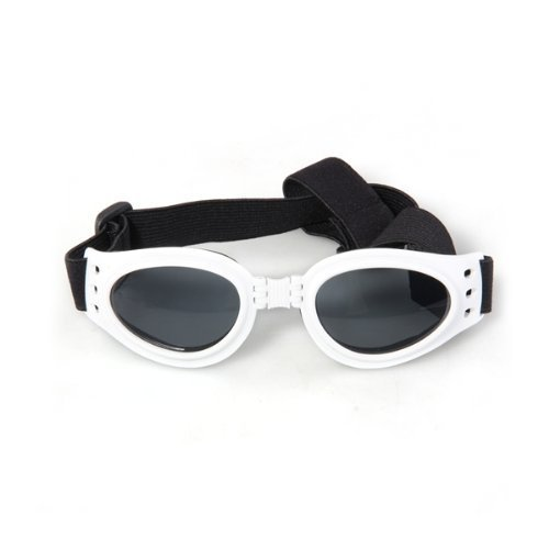 TOOGOO(R) White Framed Pet Puppy Dog UV Protection Goggles Sunglasses - Edgars Sunglasses