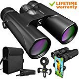 Waterproof 10x42 Binoculars For Adults. Lightweight Compact Binocular 10x42 Prism BAK4. HD Binocular For Bird Watching Hunting Traveling And Sightseeing With Smartphone Adapter