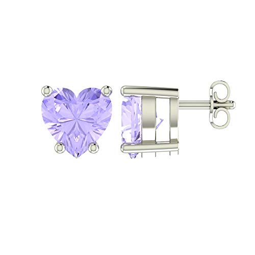 (Solid Sterling Silver 5mm Heart Shaped 1.45 Carat Lavender Cubic Zirconia Stud Earrings, High Polished CZ Earrings with Push Backs)
