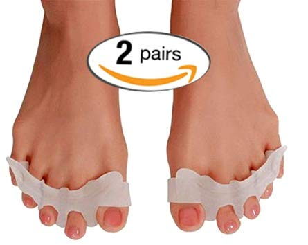 Gel Toe Separator Toe Straightener Toe Spacers (2 Pairs) Toe Stretchers Bunion Pain Relief - Hammer Toe Corrector - Toe Spreader -Toe Alignment Bunion Correction and Overlapping Toes by Pedi Soother Solutions