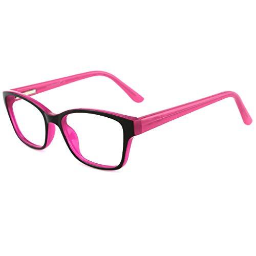 modesoda Kids Nerdy Rectangular Glasses Translucent Non-prescription Eyeglasses for Girls Boys (Fake Girls For Kids Eyeglasses)