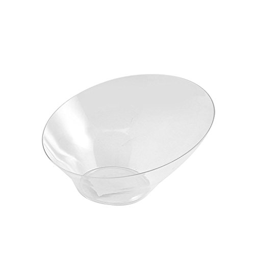 Party Bargain Angled Plastic Bowls | Heavy-duty Premium Quality Small Serving Bowl | Excellent for Weddings, Baby & Bridal Showers, Parties & More | Clear (5 Pack)