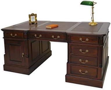 Style antique bureau bois massif revêtement en cuir amazon