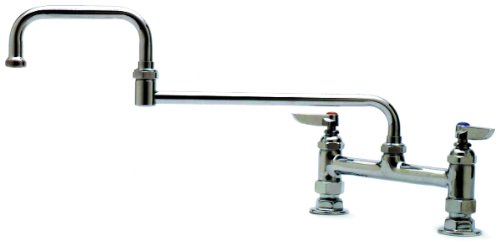 T&S Brass B-0246 Double Pantry Faucet, Deck Mount, 8-Inch Centers, 15-Inch Double-Joint Swing Nozzle