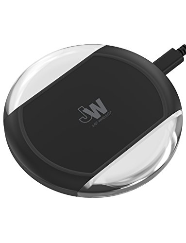 Just Wireless Qi WPC Certified Wireless Charger Charging Pad 5W/1A with AC Wall Adapter and 5-Feet Cable Compatible with Qi enabled Apple iPhone and Android (Samsung Galaxy, Note, Edge) - Black