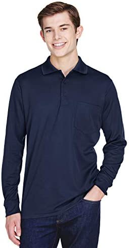Ash City - Core 365 Mens Pinnacle Performance Pique Long-Sleeve PoloPocket (88192P) Classic Navy 849 s