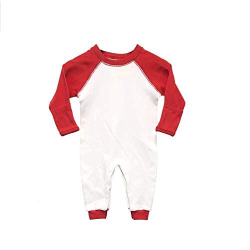 Laughing Giraffe Baby Long Sleeve Raglan Baseball Romper Sleep and Play with Mittens (0-3m, White/Red)