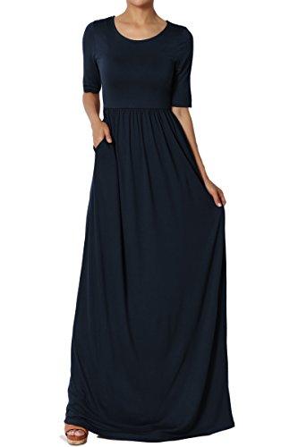 Shirred Dress Knit (TheMogan Women's Half Sleeve Shirred Viscose Jersey Long Maxi Dress Navy L)