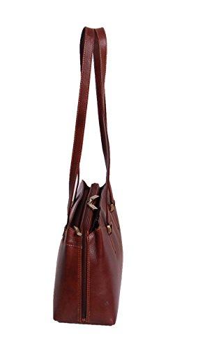 Classique italienne fourre tout cru épaule Sac en cuir pour les femmes CAMILA brun