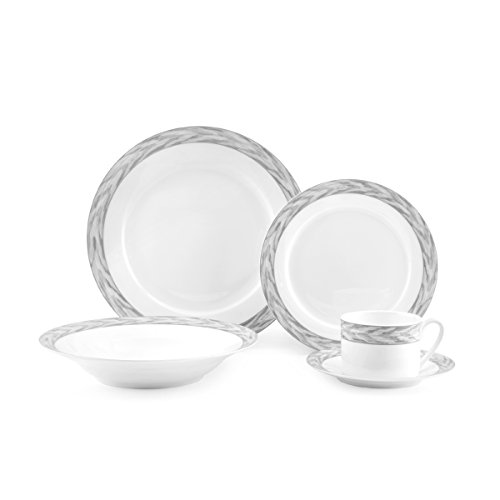 Mikasa Silk Moire Gris 20-Piece  Bone China Dinnerware Set, Service for 4