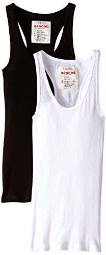(2 Pack Zenana Women's Basic Ribbed Tank Top Large Black, White)
