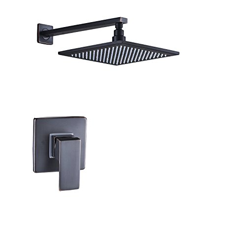 "Rozin Wall Mounted 8"" Square Rainfall Shower Head with Single Lever Mixer Valve Oil Rubbed Bronze"