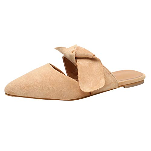 Londony Women's Flats Shoes Pointed Toe Backless Slipper Slip On Loafer Shoes Girls Bow Embellished Mule Slippers Beige ()